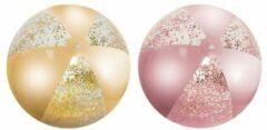 Orange85 Strandbal - 2 stuks - Glitter - Goud - Roze - 50 cm - Strandbal opblaasbaar - Strandballen - Strandbal groot - Strandbal 50 cm - Strandbal Glitter - Strandbal transparant