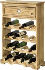 En.casa Wijnrek Mosel voor 16 flessen met lade grenen 86x55x22 cm