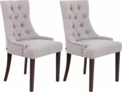 Luxe Comfort Eetkamerstoelen - Set van 2 stoelen - Stof - Antiek grijs