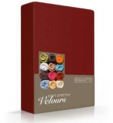 Rode Romanette - Velours - Hoeslaken - Tweepersoons - 140/150x200/220 cm - Bordeaux