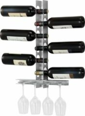 Zilveren En.casa Wijnrek Pfalz voor 6 flessen met bekerhouder wandmontage