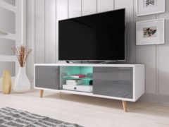 Perfecthomeshop TV Meubel Hoogglans Wit & Grijs - Scandinavisch Design - Inclusief led