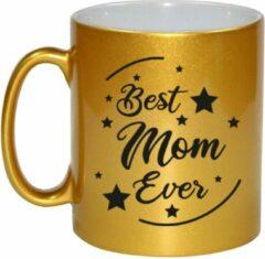 Bellatio Decorations Best Mom Ever Cadeau Koffiemok / Theebeker - Goudkleurig - 330 Ml - Verjaardag / Moederdag / Bedankje