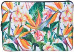 Groene Misstella Laptop Sleeve met Tropische print tot 14 inch – Oranje/Groen
