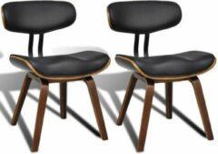 Merkloos / Sans marque Design Eetkamerstoelen (INCL anti kras viltjes) Kunstleer Zwart Bruin / Eetkamer stoelen / Extra stoelen voor huiskamer / Bezoekersstoelen