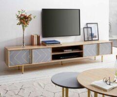 Naturelkleurige DELIFE Televisietafel Metropolitan Mango Natuurlijk 240 cm 4 deuren 2 legplanken Beton dressoir