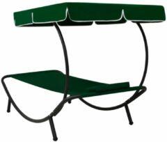 VidaXL Loungebed met luifel en kussen groen