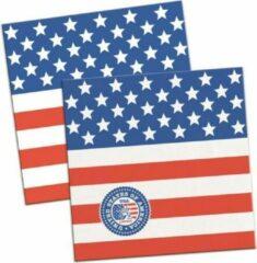 Rayher hobby materialen 60x Amerikaanse vlag/USA themafeest servetten 25 x 25 cm papier - Thema papieren wegwerp tafeldecoraties