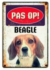 Witte Plenty gifts waakbord blik beagle 15x21 cm