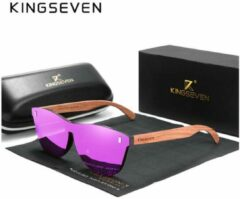 KingSeven - Purple Oculos Bamboo UV400 en polarisatie filter