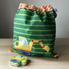 Groene Graafmachine / kraan kinder sporttas trekkoord tas met mini handdoekje 30 x 60 cm - Die spiegelburg serie Later als ik groot ben ...