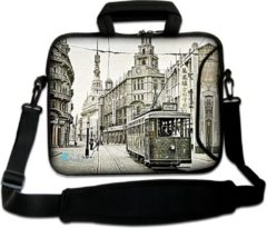 Grijze False Sleevy 17,3 laptoptas Chinatown - laptophoes voorvak - laptop sleeve - smalle laptoptas - reistas - schoudertas - schooltas - heren dames tas - tas laptop