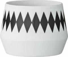 Bloomingville Waxinelichthouder Diamand Porcelain Zwart - Wit