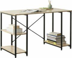 En.casa Bureau met 3 planken Aarhus 120x66x75 cm zwart en eiken