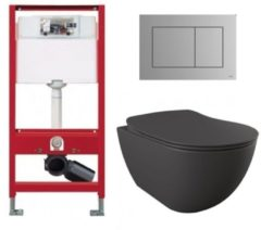 Douche Concurrent Tece Toiletset - Inbouw WC Hangtoilet wandcloset - Creavit Mat Antraciet Rimfree Tece Now Mat Chroom