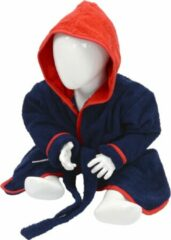 Marineblauwe ARTG Babiezz® Baby Badjas met Capuchon Donkerblauw - Rood - Maat 98-110