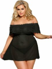 Subblime Queen Plus Size Subblime - lingerie set teddy - sexy bloemenset - exclusief design - avondjurk - blote schouders - zwart / sex / erotiek toys