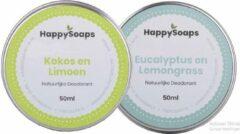 SET HappySoaps Deodorant KOKOS&LIMOEN EN EUCALYPTUS&LEMONGRASS Natuurlijk, vegan en handgemaakt