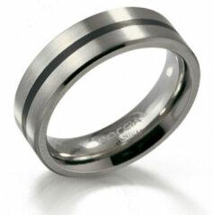 Boccia 0101-14 Ring Titanium-Emaille zilverkleurig-zwart 6 mm Maat 67