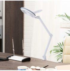 HOMCOM Lupenlampe Arbeitsplatzlampe Kosmetiklampe 8W 5D Weiß Lupenleuchte Arbeitsplatzlampe Tischleuchte Lampe