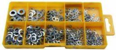 Zilveren US.PRO Tools by Bergen Sluitringen / veerringen assortiment 500-delig in assortimentsdoos