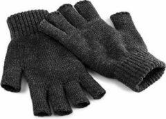 Beechfield Vingerloze handschoenen grijs voor volwassenen S/M