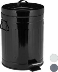 Relaxdays pedaalemmer retro - 5 liter - binnenemmer - prullenbak met deksel - afvalemmer zwart