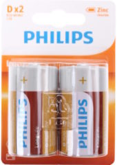 Groene Philips Batterij R20 Longlife 1.5V Per 2 Stuks