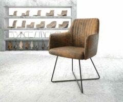 DELIFE Stoel Greg -Flex X-frame zwart vintagesuede-look bruin