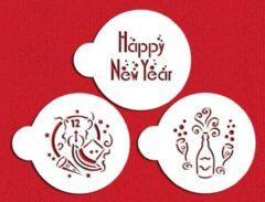 Witte Designer Stencils Happy New Year! - Koekjes stencils
