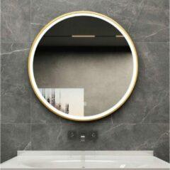 Badkamerspiegel rond 80 cm met gouden frame, led verlichting en anti condens - Bella Mirror