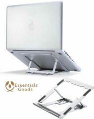 Zilveren Essentials Goods Ergonomische Laptopstandaard – Verstelbaar en Opvouwbaar – Laptop Houder voor Laptops & Tablets Tussen de 10,0 en 15,6 Inch – Makkelijk Mee Te Nemen – Standaard – Stand – Verhoger