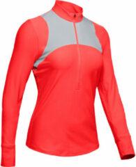 Rode Under Armour Qualifier hardloopshirt voor dames (korte rits) - Hardloopshirts (lange mouwen)