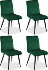 SENSIO Eetkamerstoelen Set van 4 Bastion - Groen - Metaalpoot - Fluweel - Velvet eetstoel