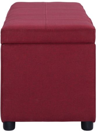 Afbeelding van VidaXL Bankje met opbergvak 116 cm polyester wijnrood