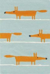 Scion - Mr Fox Aqua 25308 Vloerkleed - 140x200 cm - Rechthoekig - Kinder, Laagpolig Tapijt - Scandinavisch - Blauw, Oranje