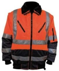 Marineblauwe M-wear Pilotjack - Blauw/oranje En471, Maat L Blauw/oranje En471, Maat L