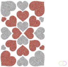 Stickers Herma 6387 MAGIC Harten rood & zilver, glittery