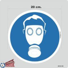 Blauwe Allerhande Stickers Ademhalingsbescherming, Gasmasker verplicht pictogram sticker 20 cm.