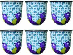 Images D'Orient Coffee Cup BIRDS OF PARADISE, porcelain, 90ml - set van 6