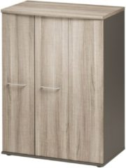Gamillo Furniture Opbergkast Jazz 114 cm hoog in grijs eiken met grijs
