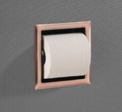 Saniclear Copper inbouw toiletrol houder zonder klep geborsteld koper