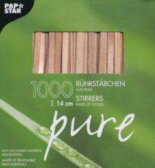 Bruine PAPSTAR Rührstäbchen 'pure', aus Holz, Länge: 140 mm