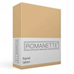 Romanette flanellen laken - 100% geruwde flanel-katoen - 1-persoons (150x250 cm) - Zand
