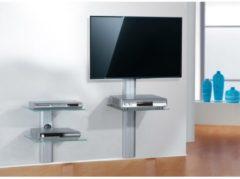 Trägersystem 'Trento1 Silber' | Hifi-Halterung für Receiver, DVD-Player VCM Klarglas