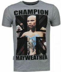 Local Fanatic Mayweather - Rhinestone T-shirt - Grijs Mayweather - Rhinestone T-shirt - Grijs Heren T-shirt Maat 3XL