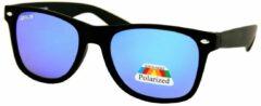 Loud and Clear Wayfarer Zonnebril Heren Polarized Gepolariseerd Polariserend Mat Zwart - Blauw Spiegelglazen
