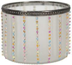 Clayre & Eef Glazen Theelichthouder 6GL2902 Ø 11*8 cm - Wit Glas Waxinelichthouder Windlichthouder