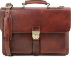 Tuscany Leather Assisi - Leren aktetas met 3 vakken - Bruin - TL141825