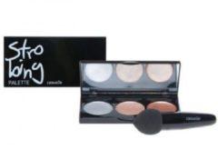 Merkloos / Sans marque Highlighter/Contour make-up compact Casuelle, 10 x 14 x 3cm, 3 kleuren gezichtspoeder en latex blending spons